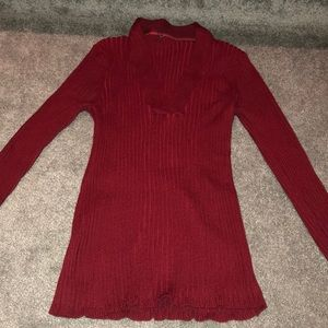 Sweaters - RED RIBBED V NECK SWEATER